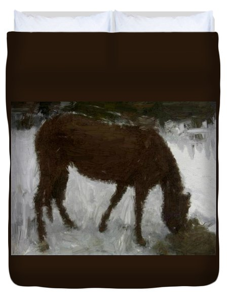 Duvet Cover featuring the painting Flicka by Bruce Nutting