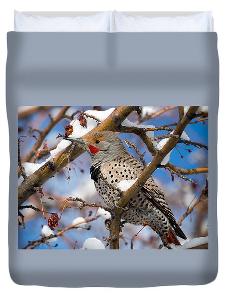 Flicker In Snow Duvet Cover
