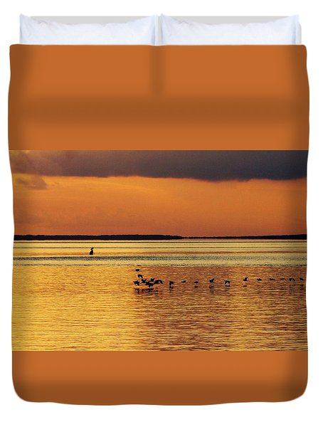 Flight At Sunset Duvet Cover