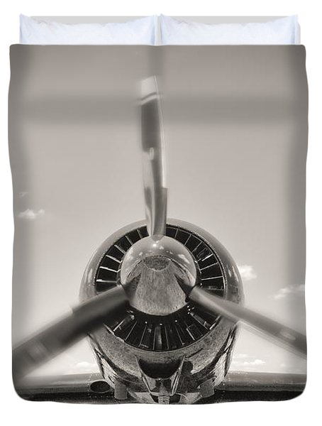 Flight In Black And White Duvet Cover