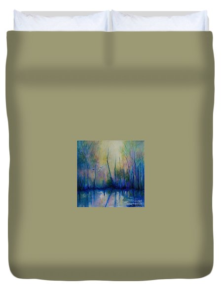 Flight In Morning Symphony Duvet Cover by Alison Caltrider
