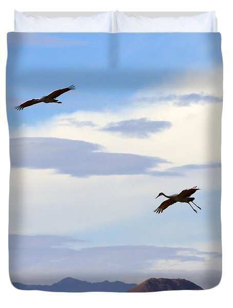 Flight Of The Sandhill Cranes Duvet Cover by Mike  Dawson