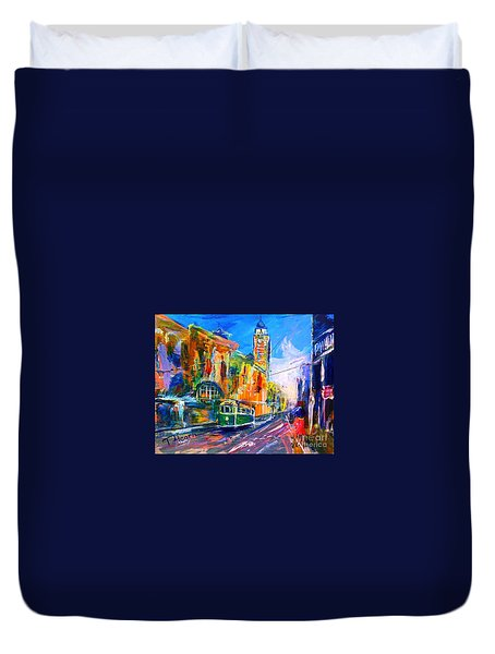 Duvet Cover featuring the painting Flinders Street - Original Sold by Therese Alcorn