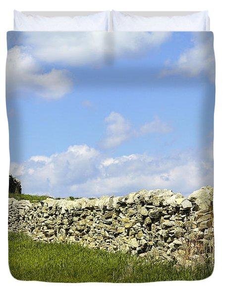Duvet Cover featuring the photograph Flint Hills Rock Fence by Steven Bateson