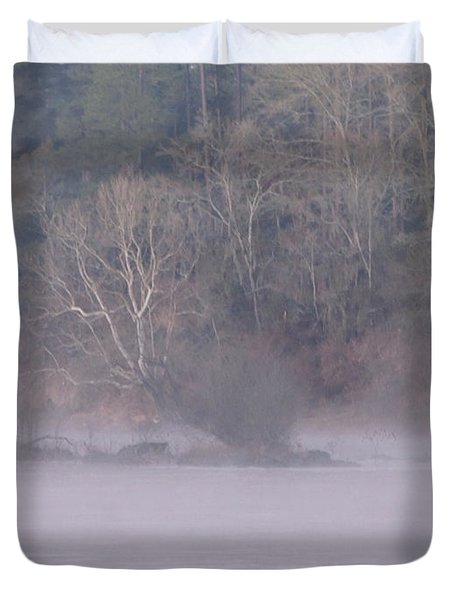 Duvet Cover featuring the pyrography Flint River 10 by Kim Pate