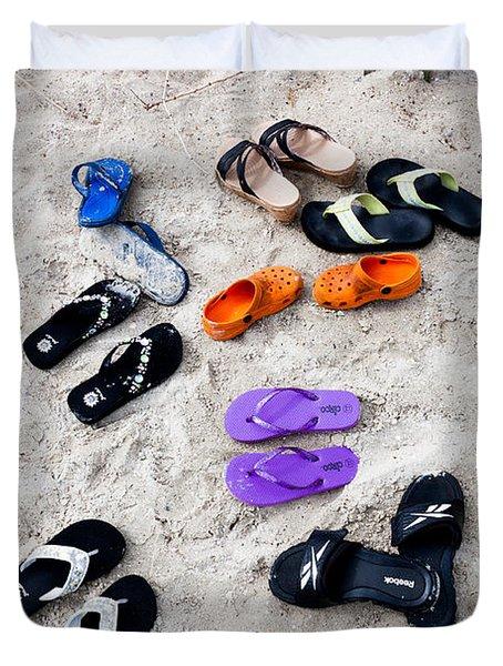 Flip Flops On The Beach Duvet Cover