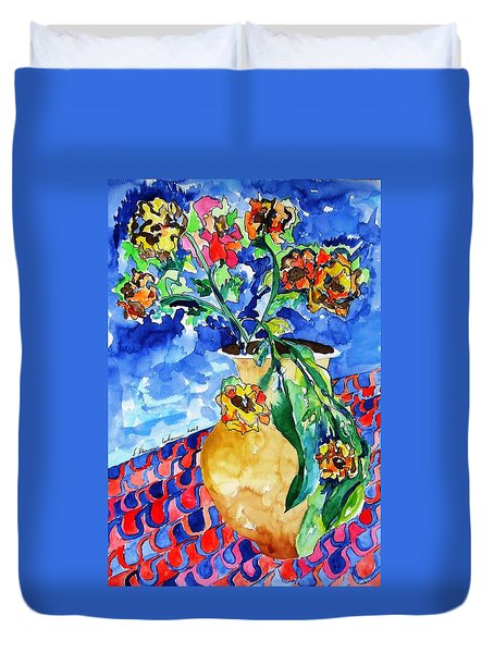 Flip Of Flowers Duvet Cover by Esther Newman-Cohen