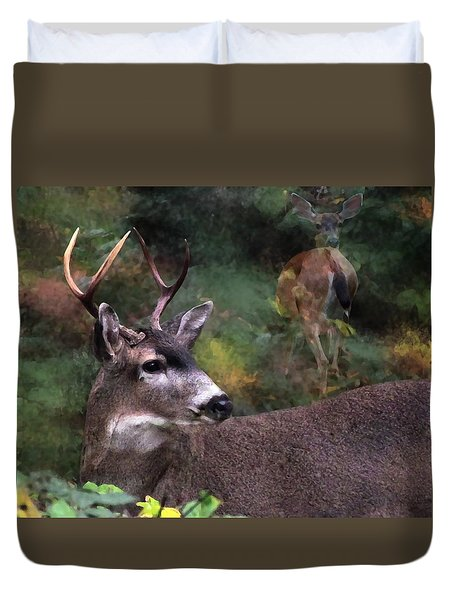 Duvet Cover featuring the photograph Flirt by I'ina Van Lawick