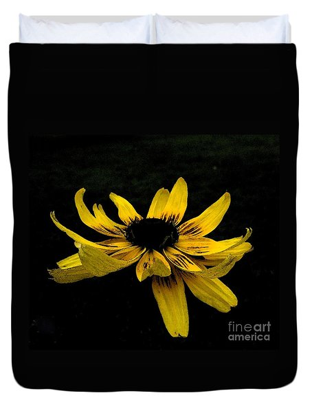 Duvet Cover featuring the photograph  Black Eyed Susan Suspense by Ecinja