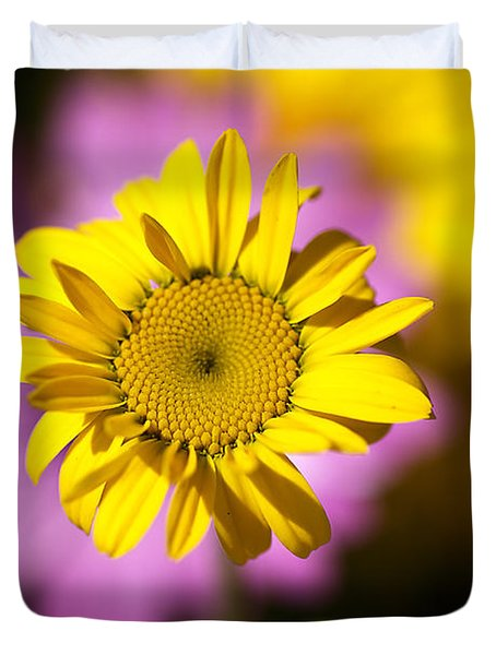 Duvet Cover featuring the photograph Floating Daisy by Joy Watson