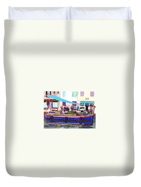 Floating Grocery Store Duvet Cover by Mike Robles