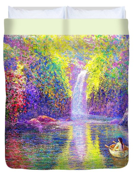 Duvet Cover featuring the painting Floating by Jane Small