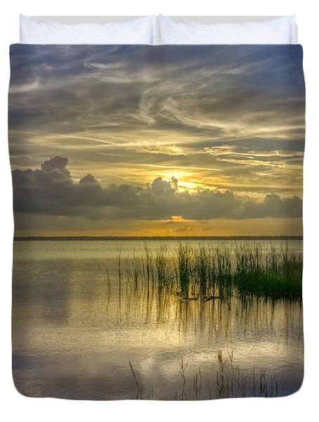 Floating Over The Lake Duvet Cover by Debra and Dave Vanderlaan