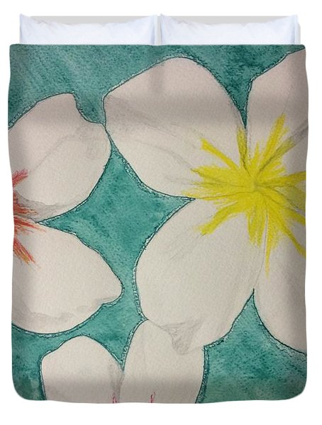 Floating Plumeria Duvet Cover