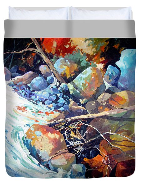 Duvet Cover featuring the painting Flood Plain by Rae Andrews