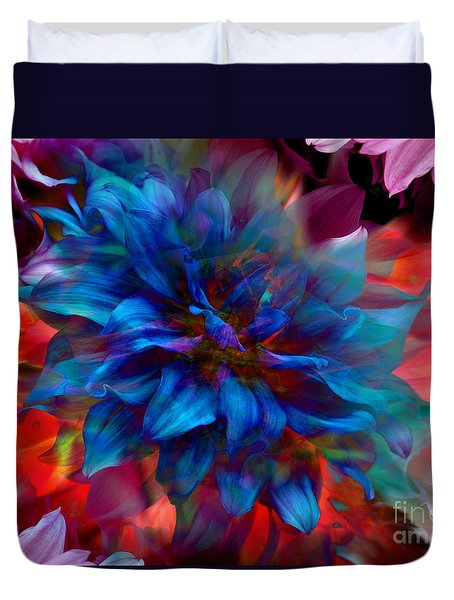 Floral Abstract Color Explosion Duvet Cover by Stuart Turnbull