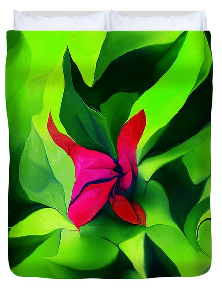 Duvet Cover featuring the digital art Floral Abstract Play by David Lane