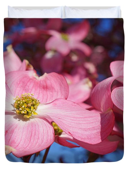 Floral Art Print Pink Dogwood Tree Flowers Duvet Cover by Baslee Troutman