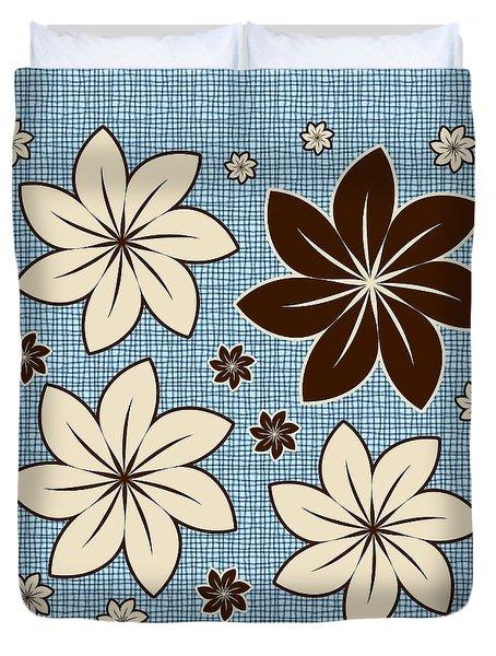 Floral Design On Blue Duvet Cover by Gaspar Avila