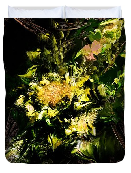 Duvet Cover featuring the digital art Floral Expression 020215 by David Lane