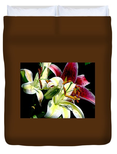Duvet Cover featuring the photograph Florals In Contrast by Ira Shander