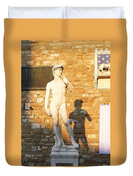 Florence Italy Michelangelo David Replica Duvet Cover by Irina Sztukowski
