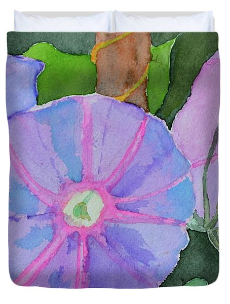 Duvet Cover featuring the painting Florence's Morning Glories by Beverley Harper Tinsley