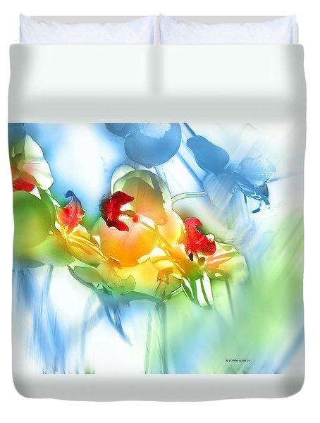 Flores En La Ventana Duvet Cover