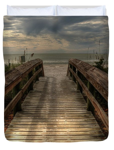 Florida Beach Entrance With A Beautiful Sky Duvet Cover