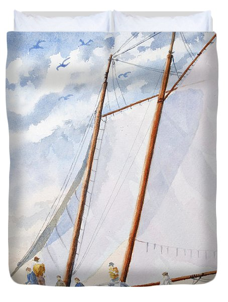 Duvet Cover featuring the painting Florida Catboat At Sea by Roger Rockefeller