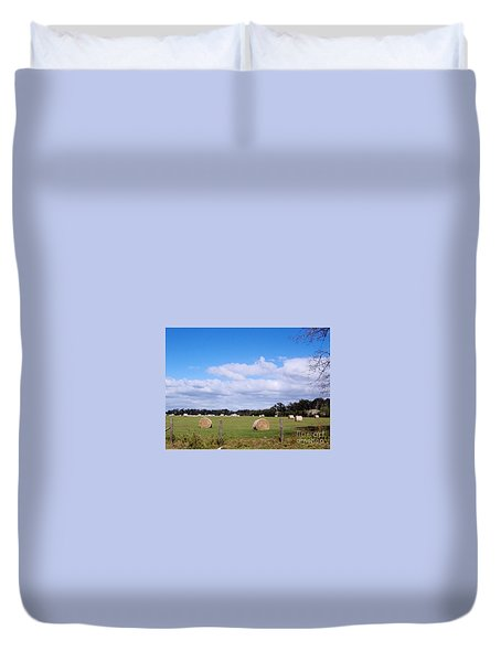 Duvet Cover featuring the photograph Florida Hay Rolls by D Hackett