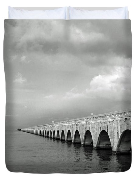 Florida Keys Seven Mile Bridge Black And White Duvet Cover by Photographic Arts And Design Studio