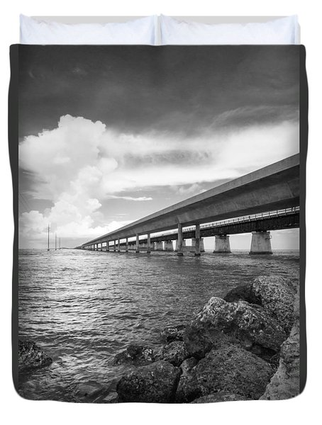Florida Keys Seven Mile Bridge South Bw Vertical Duvet Cover by Photographic Arts And Design Studio