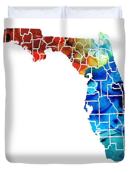 Florida - Map By Counties Sharon Cummings Art Duvet Cover