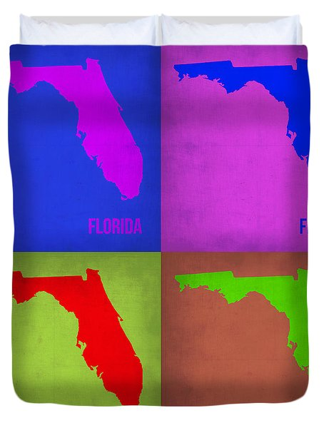 Florida Pop Art Map 1 Duvet Cover by Naxart Studio