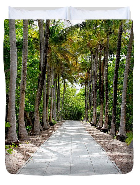Florida Walkway Duvet Cover by Carey Chen