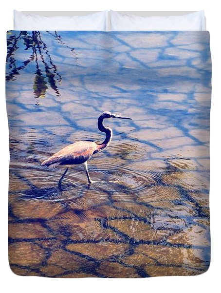 Florida Wetlands Wading Heron Duvet Cover