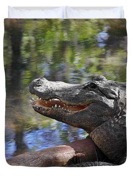 Florida - Where The Alligator Smiles Duvet Cover by Christine Till