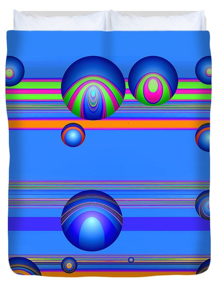 Duvet Cover featuring the digital art Flotation Devices - Berry by Wendy J St Christopher