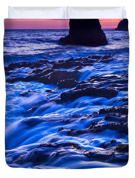 Flow - Dramatic Sunset View Of A Sea Stack In Davenport Beach Santa Cruz. Duvet Cover by Jamie Pham