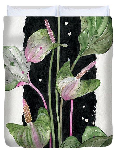 Duvet Cover featuring the painting Flower Anthurium 02 Elena Yakubovich by Elena Yakubovich
