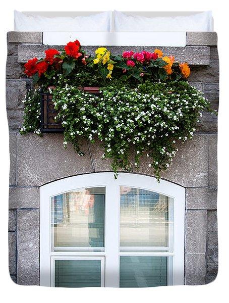 Flower Box Old Quebec City Duvet Cover