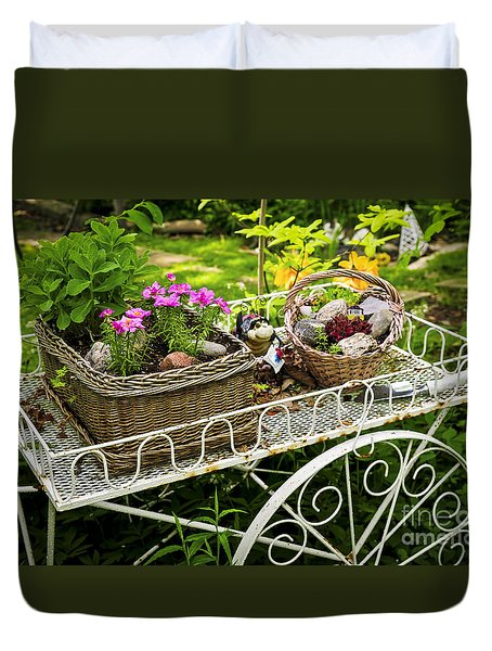 Flower Cart In Garden Duvet Cover by Elena Elisseeva