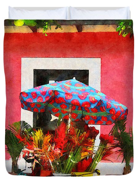 Flower Cart San Juan Puerto Rico Duvet Cover by Susan Savad