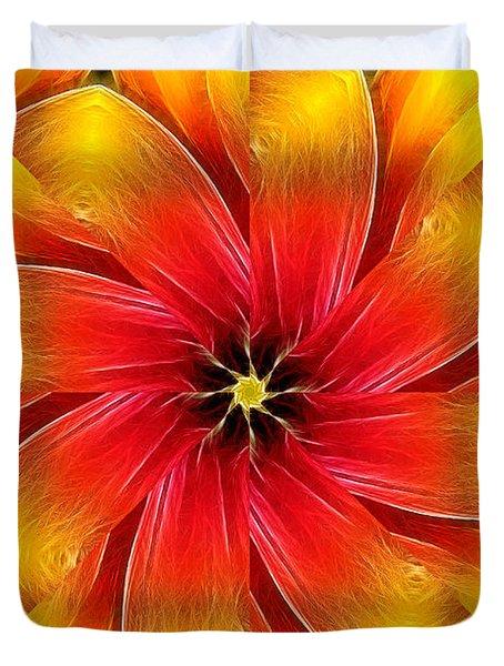 Flower Close-up--fractalius Kaleidoscope Duvet Cover