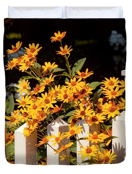 Flower - Coreopsis - The Warmth Of Summer Duvet Cover by Mike Savad