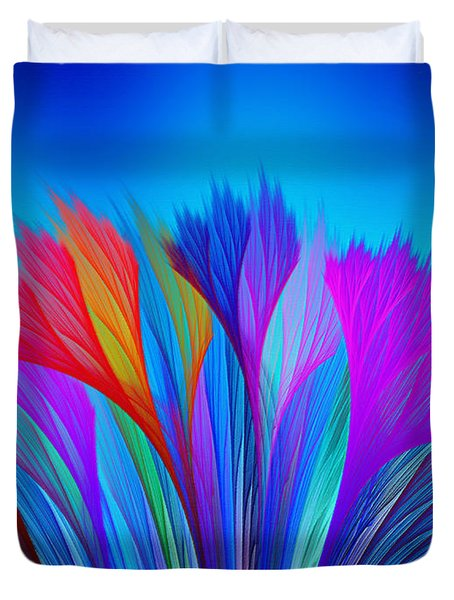 Flower Fantasy In Blue Duvet Cover