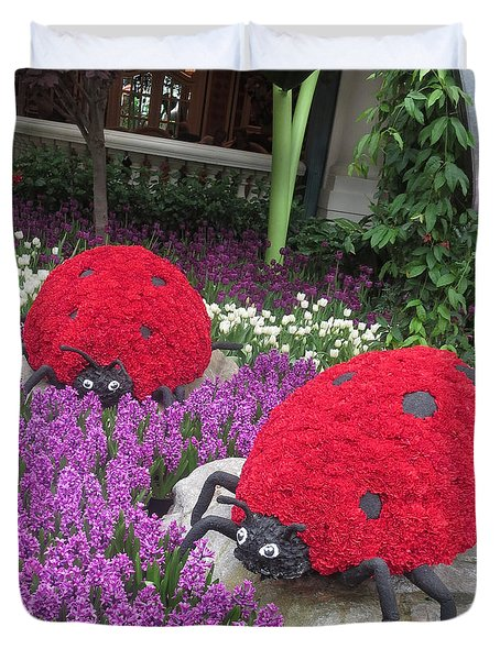 Flower Garden Ladybug Purple White I Duvet Cover