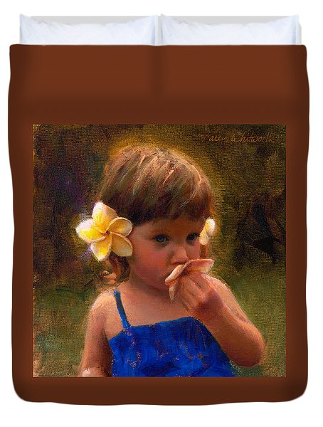 Flower Girl - Tropical Portrait With Plumeria Flowers Duvet Cover