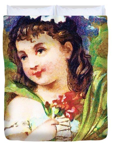 Flower Girl Duvet Cover by Vintage Trading Cards